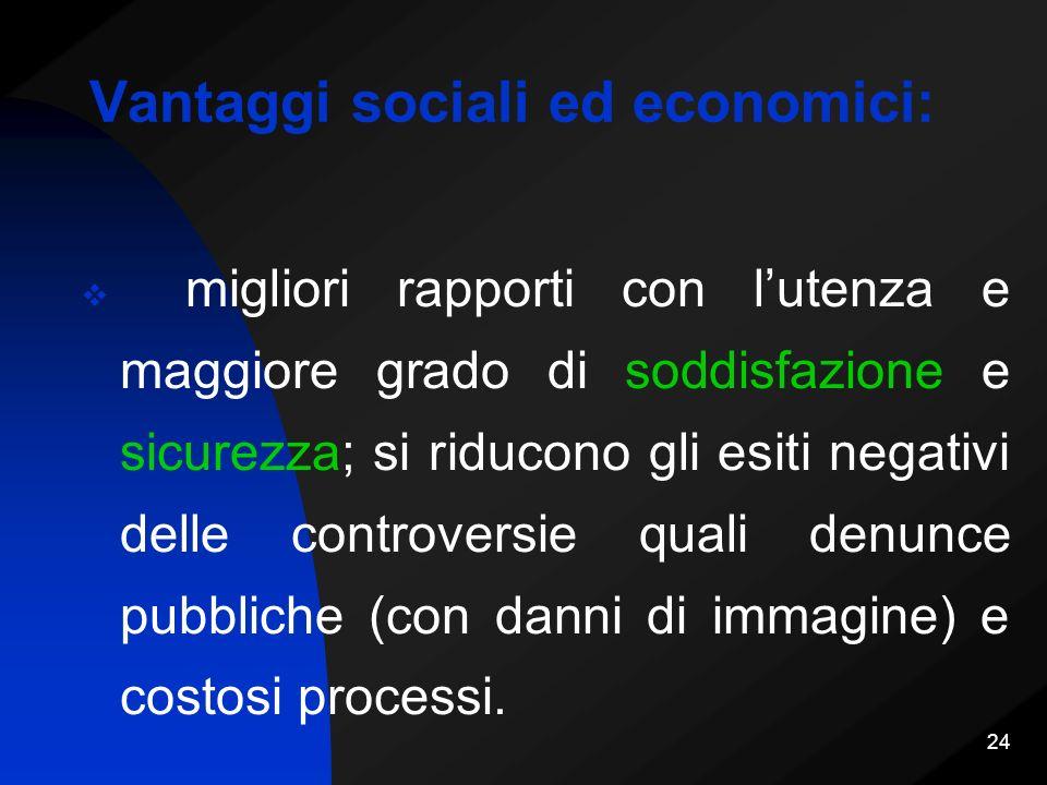 Vantaggi sociali ed economici: