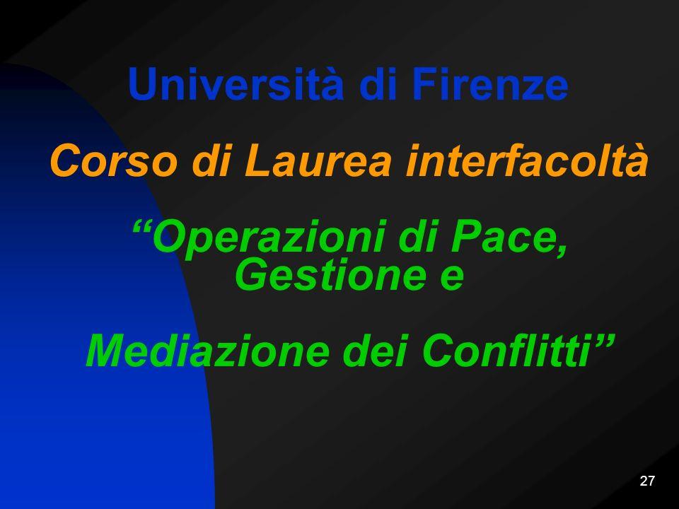 Università di Firenze Corso di Laurea interfacoltà Operazioni di Pace, Gestione e Mediazione dei Conflitti