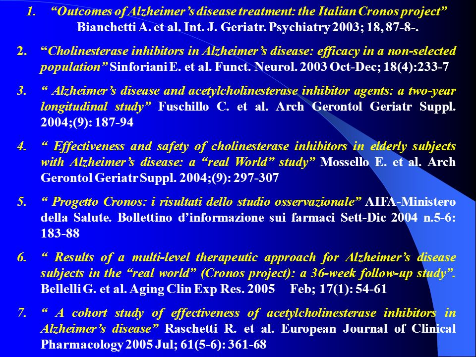 Outcomes of Alzheimer's disease treatment: the Italian Cronos project Bianchetti A. et al. Int. J. Geriatr. Psychiatry 2003; 18, 87-8-.