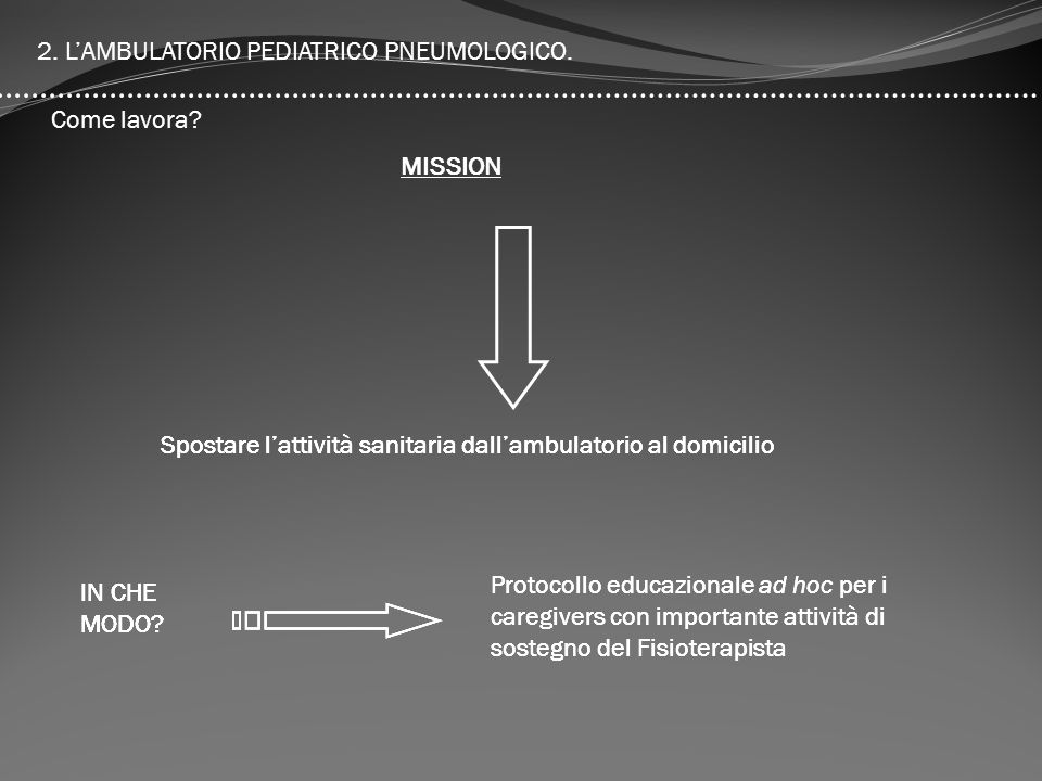 2. L'AMBULATORIO PEDIATRICO PNEUMOLOGICO.