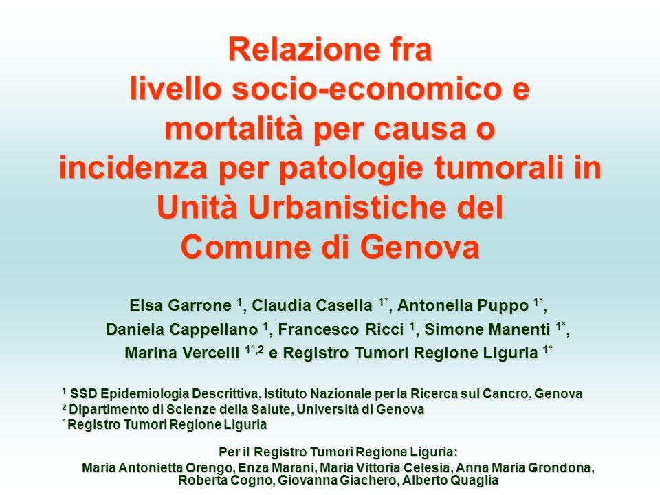 Relazione fra livello socio-economico e mortalità per causa o incidenza per patologie tumorali in Unità Urbanistiche del Comune di Genova
