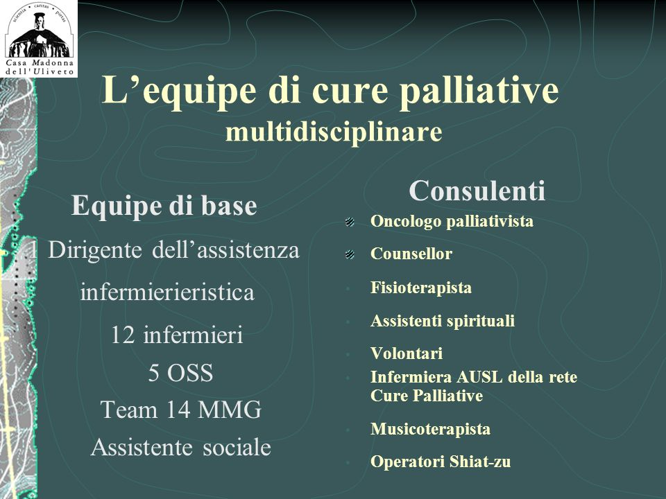 L'equipe di cure palliative multidisciplinare