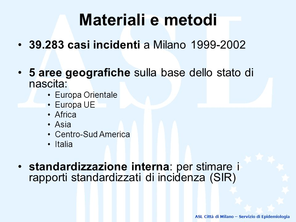 Materiali e metodi 39.283 casi incidenti a Milano 1999-2002