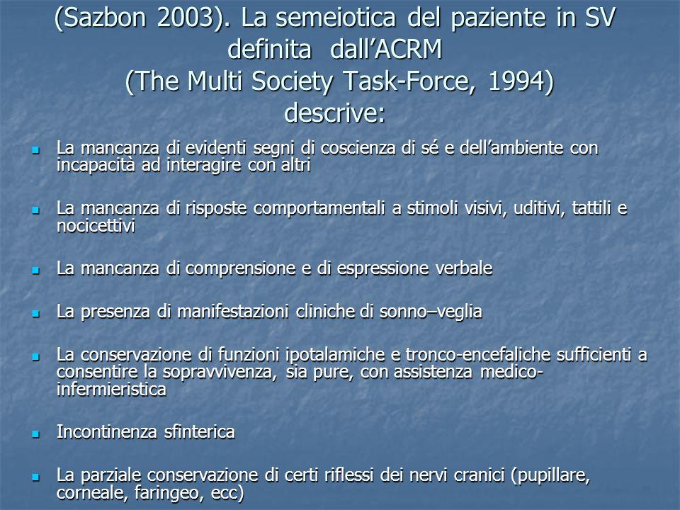 (Sazbon 2003). La semeiotica del paziente in SV definita dall'ACRM (The Multi Society Task-Force, 1994) descrive: