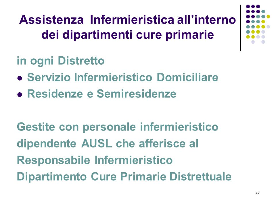 Assistenza Infermieristica all'interno dei dipartimenti cure primarie