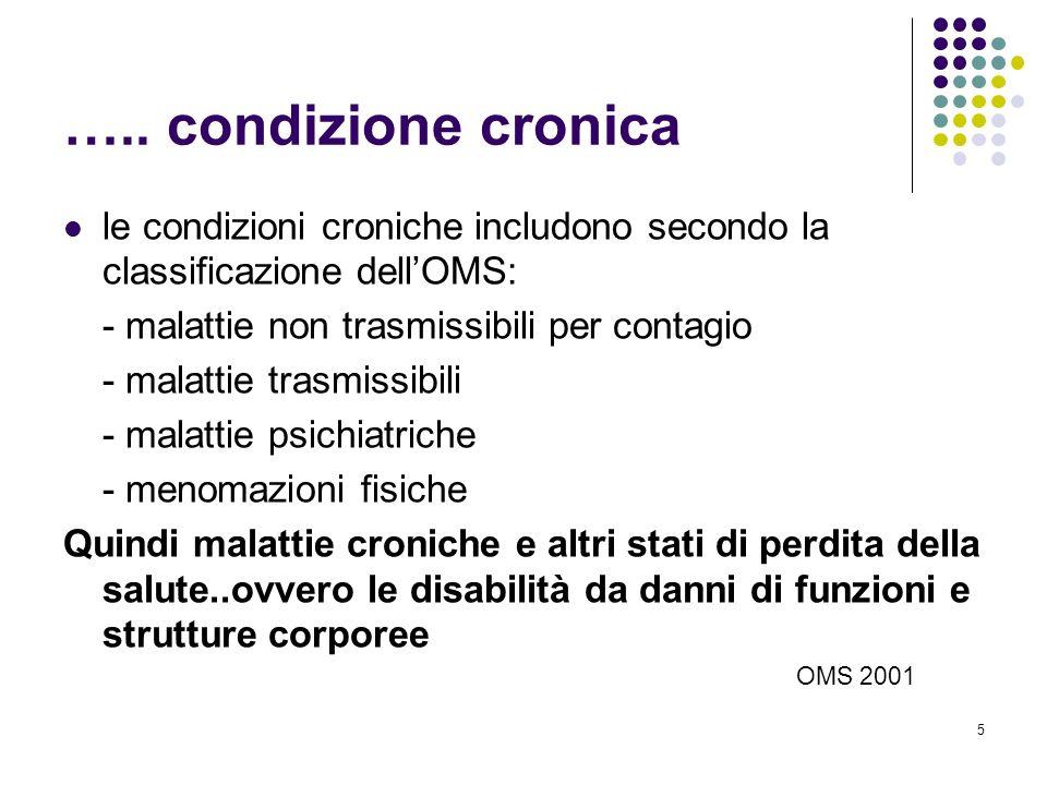 ….. condizione cronica le condizioni croniche includono secondo la classificazione dell'OMS: - malattie non trasmissibili per contagio.