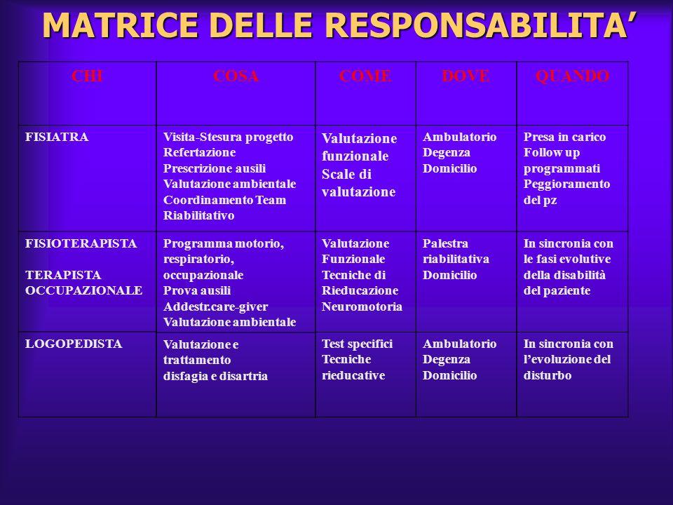 MATRICE DELLE RESPONSABILITA'