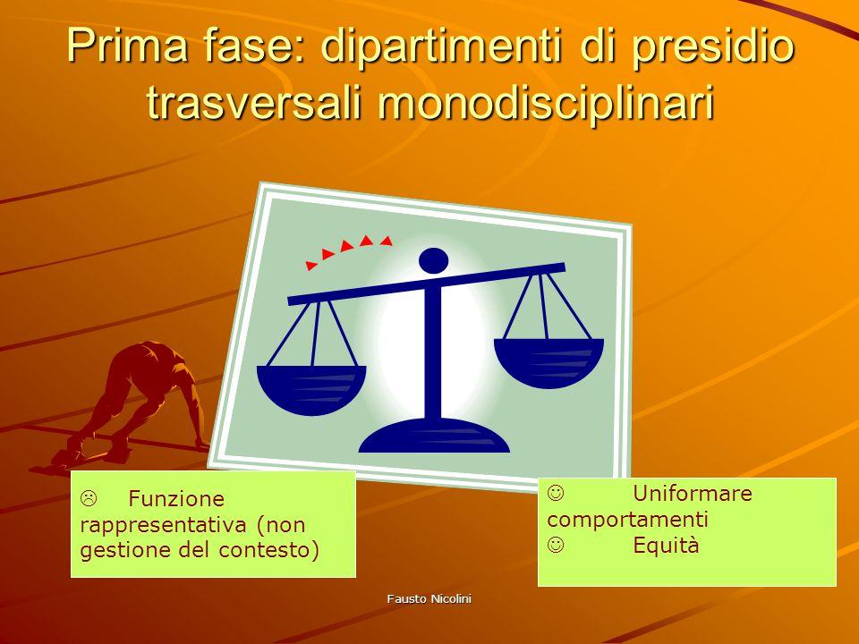 Prima fase: dipartimenti di presidio trasversali monodisciplinari