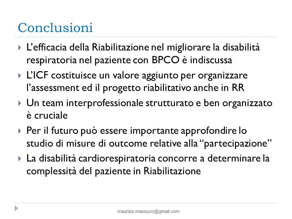 Conclusioni L'efficacia della Riabilitazione nel migliorare la disabilità respiratoria nel paziente con BPCO è indiscussa.