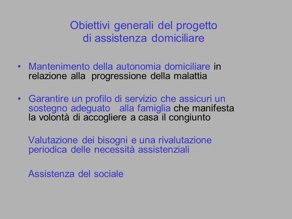 Obiettivi generali del progetto di assistenza domiciliare