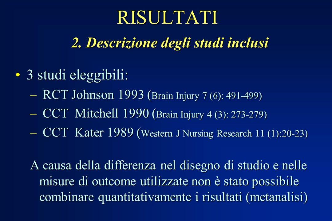 RISULTATI 2. Descrizione degli studi inclusi