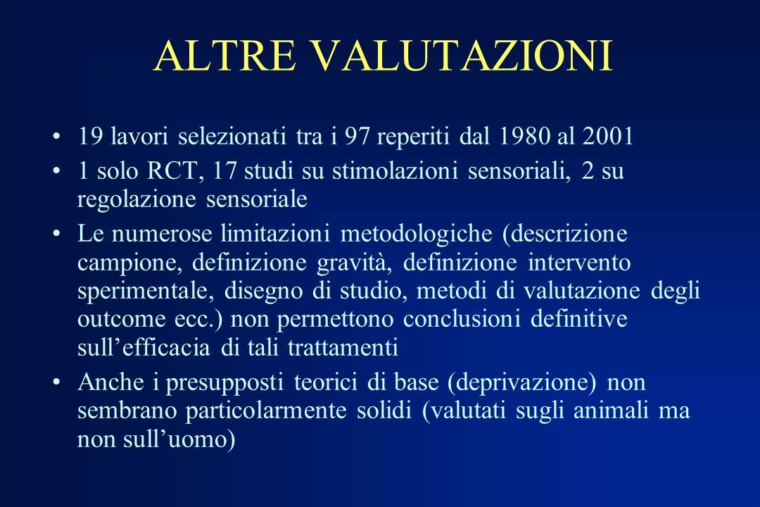 ALTRE VALUTAZIONI19 lavori selezionati tra i 97 reperiti dal 1980 al 2001.