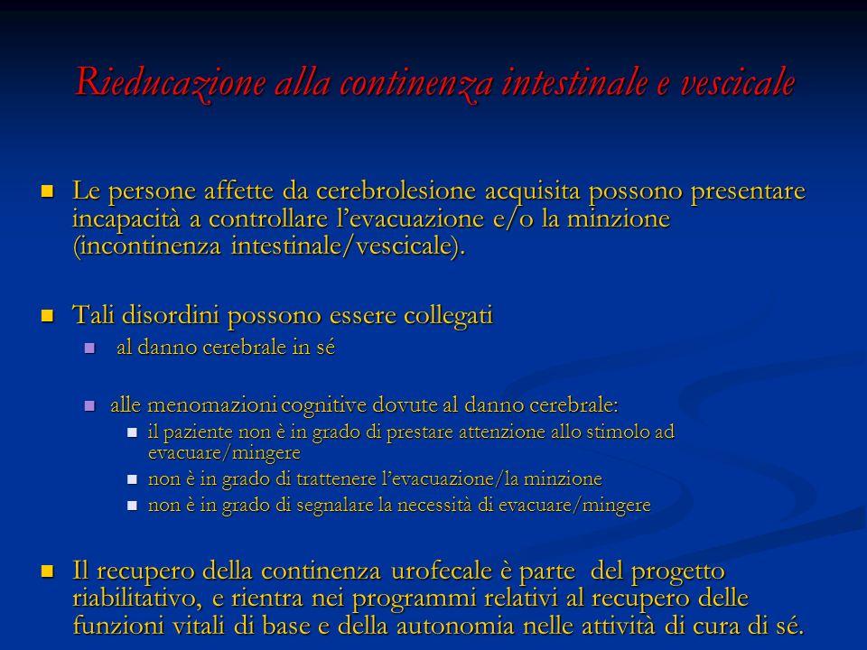 Rieducazione alla continenza intestinale e vescicale