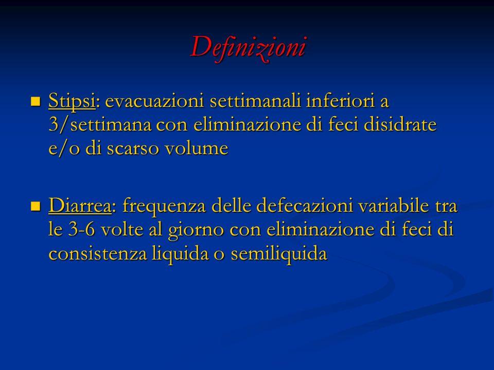Definizioni Stipsi: evacuazioni settimanali inferiori a 3/settimana con eliminazione di feci disidrate e/o di scarso volume.