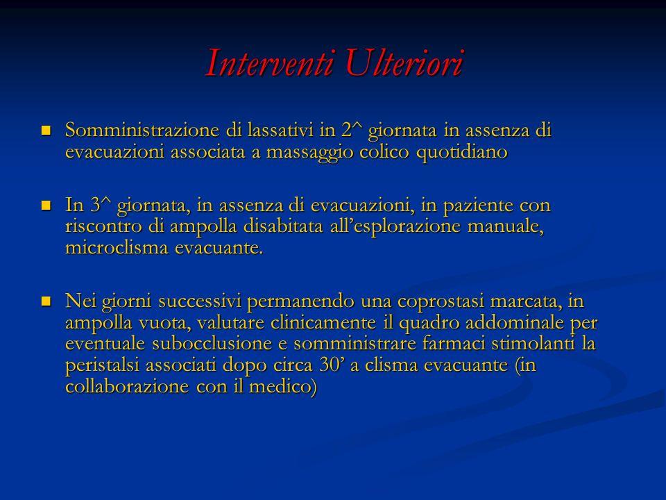 Interventi Ulteriori Somministrazione di lassativi in 2^ giornata in assenza di evacuazioni associata a massaggio colico quotidiano.
