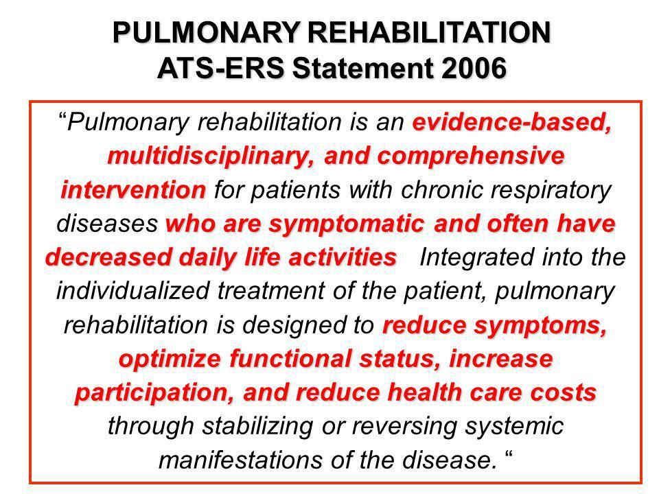 PULMONARY REHABILITATION ATS-ERS Statement 2006