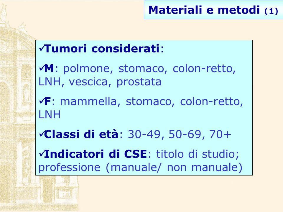 Materiali e metodi (1) Tumori considerati: M: polmone, stomaco, colon-retto, LNH, vescica, prostata.