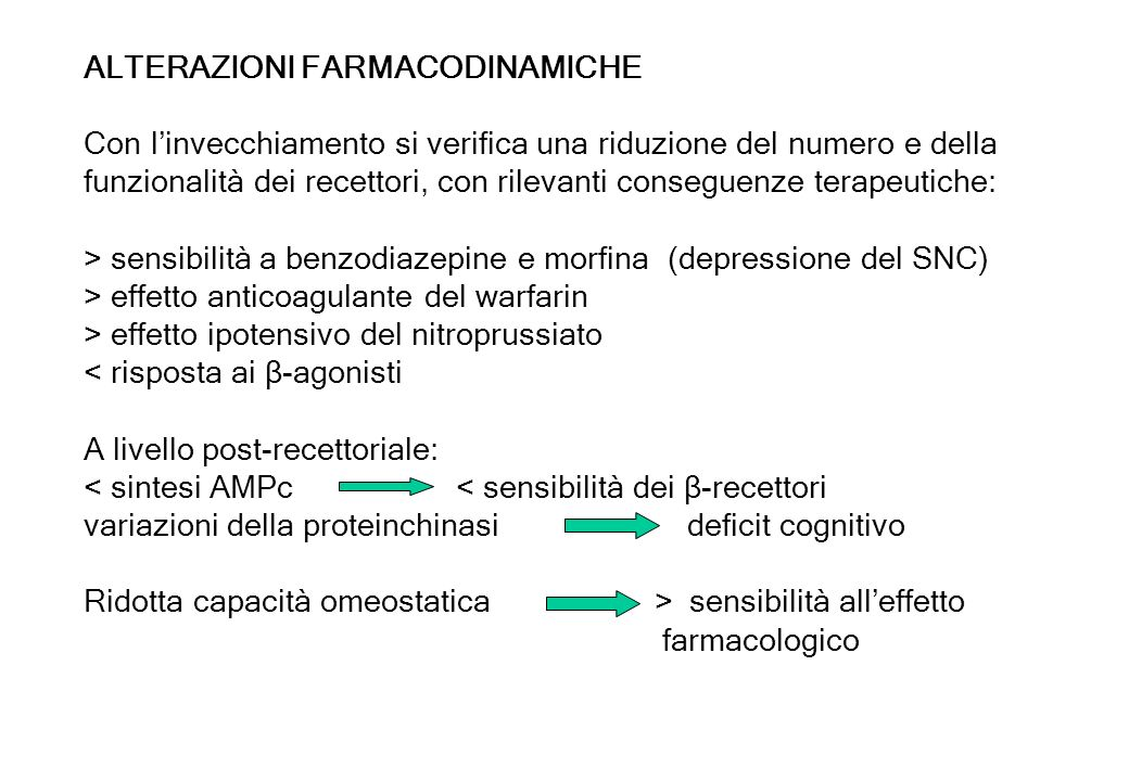 ALTERAZIONI FARMACODINAMICHE