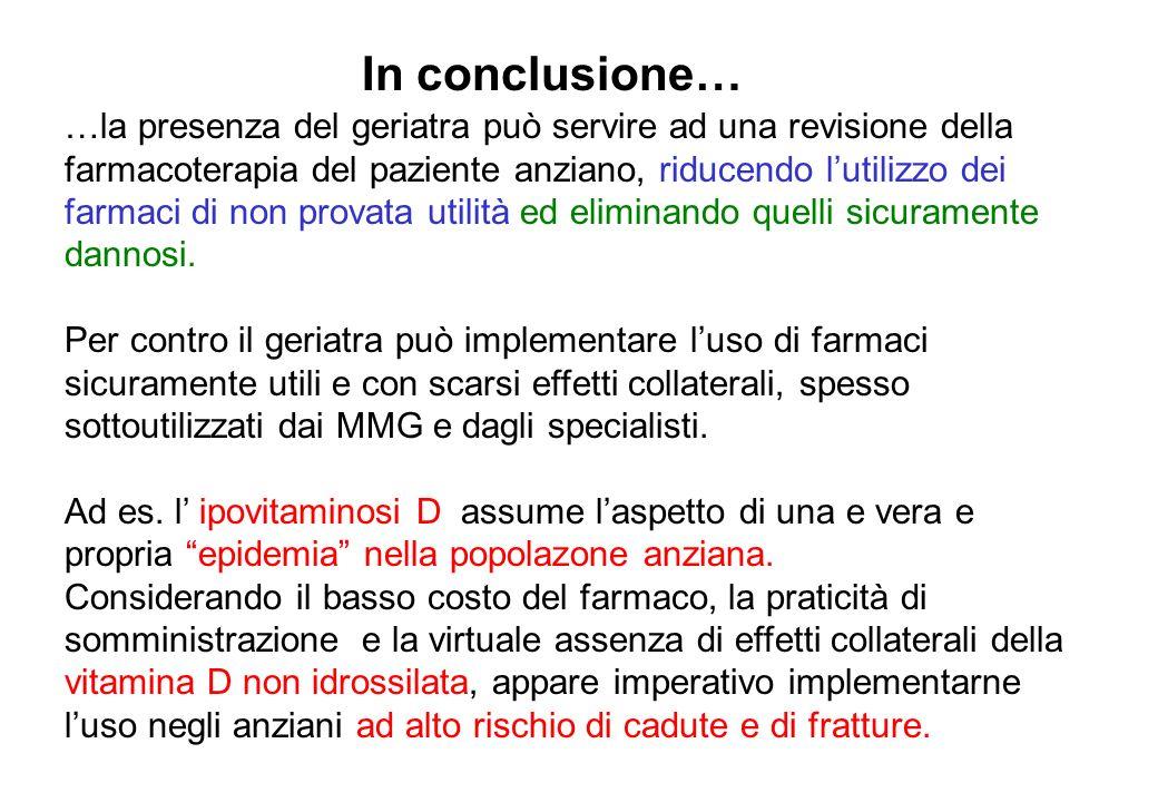 In conclusione… …la presenza del geriatra può servire ad una revisione della. farmacoterapia del paziente anziano, riducendo l'utilizzo dei.