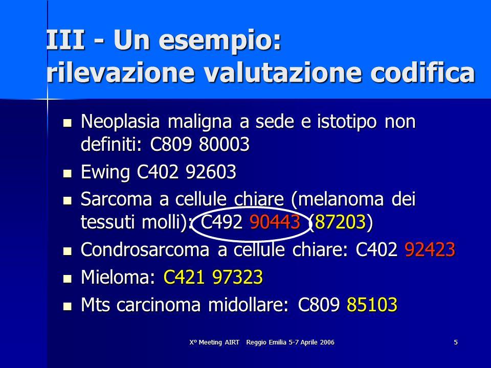 III - Un esempio: rilevazione valutazione codifica
