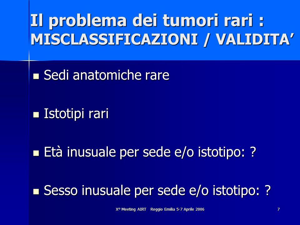 Il problema dei tumori rari : MISCLASSIFICAZIONI / VALIDITA'