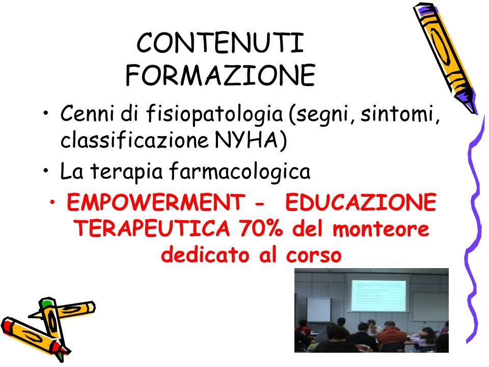 CONTENUTI FORMAZIONE Cenni di fisiopatologia (segni, sintomi, classificazione NYHA) La terapia farmacologica.