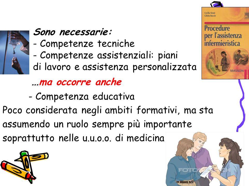 Sono necessarie: - Competenze tecniche - Competenze assistenziali: piani di lavoro e assistenza personalizzata
