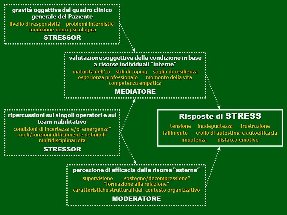Risposte di STRESS STRESSOR MEDIATORE STRESSOR MODERATORE