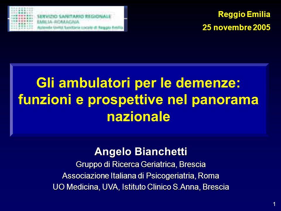 Reggio Emilia 25 novembre 2005. Gli ambulatori per le demenze: funzioni e prospettive nel panorama nazionale.