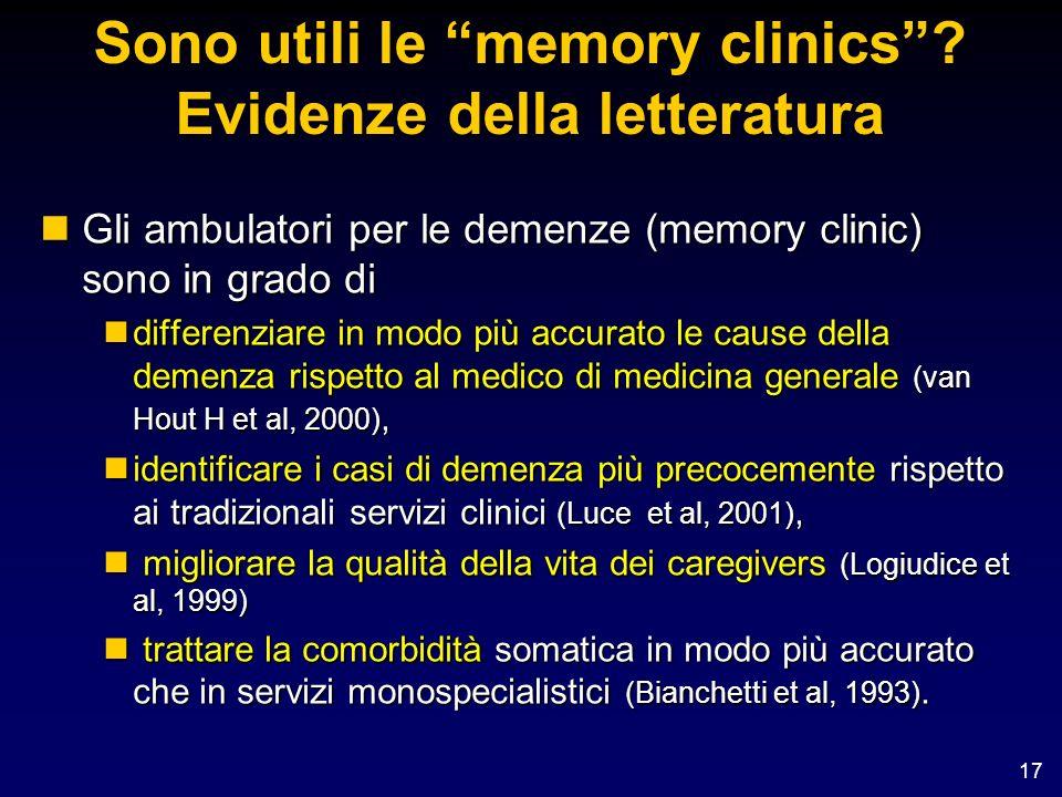 Sono utili le memory clinics Evidenze della letteratura