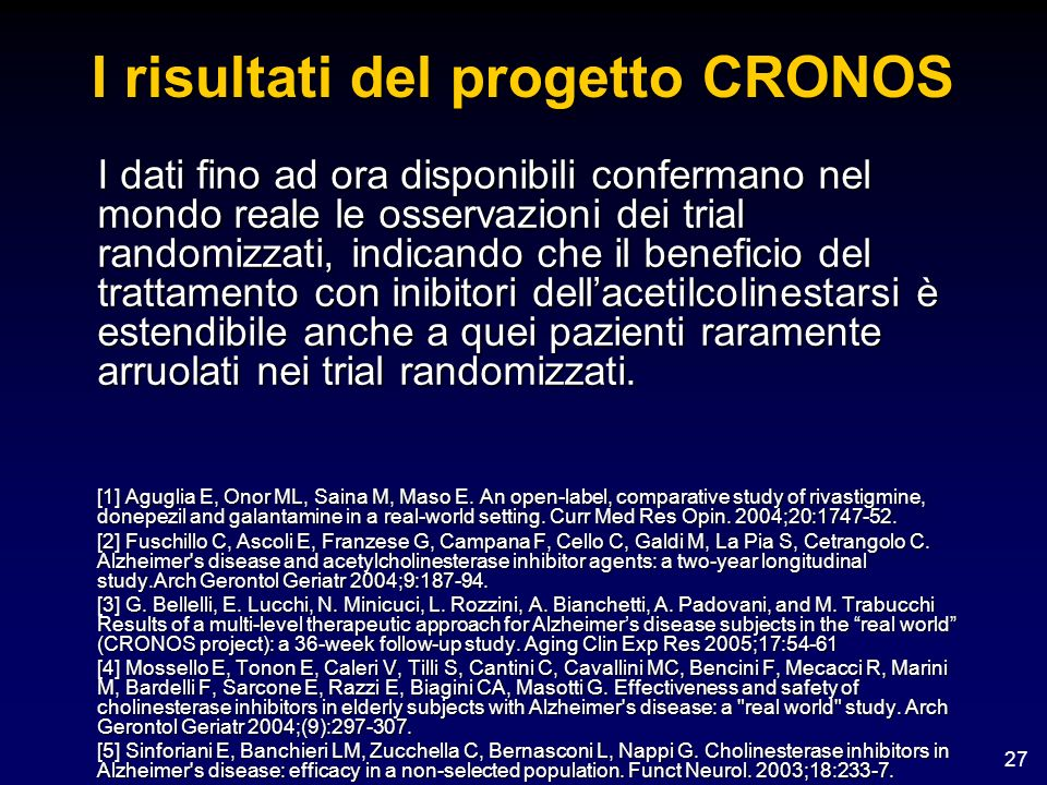 I risultati del progetto CRONOS