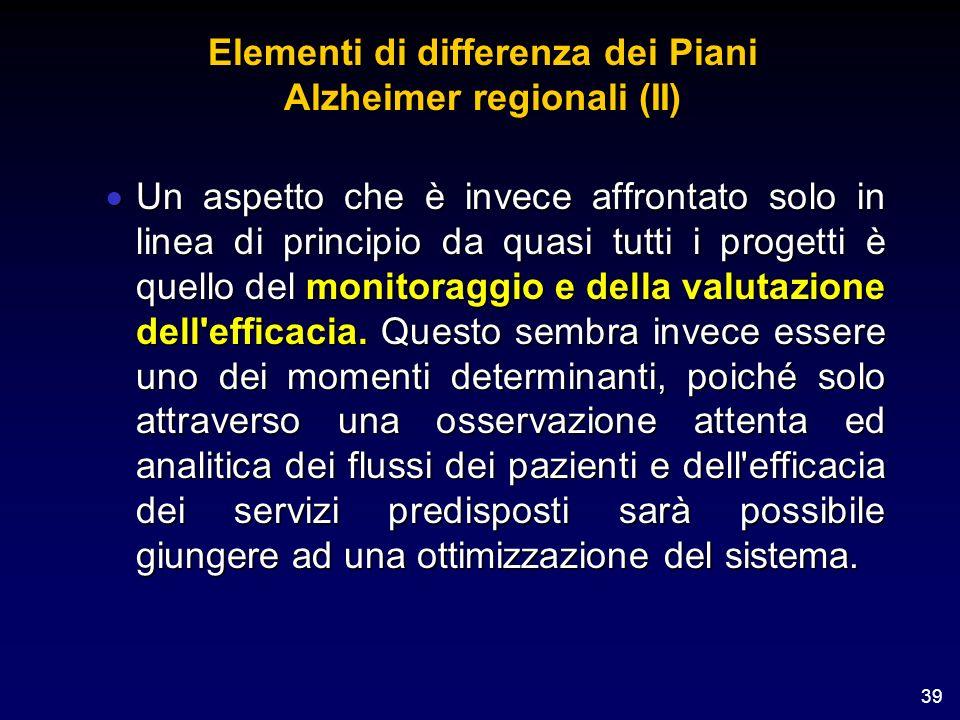 Elementi di differenza dei Piani Alzheimer regionali (II)