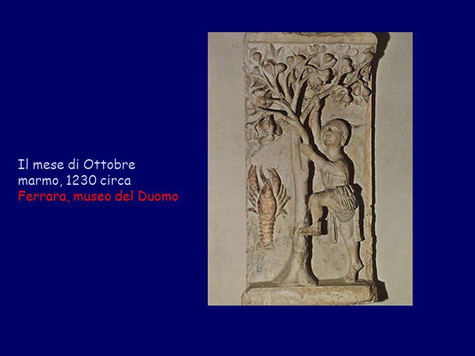 Il mese di Ottobre marmo, 1230 circa Ferrara, museo del Duomo