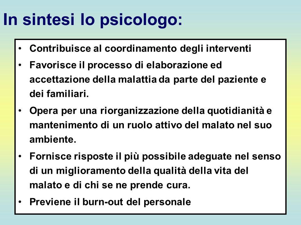 In sintesi lo psicologo: