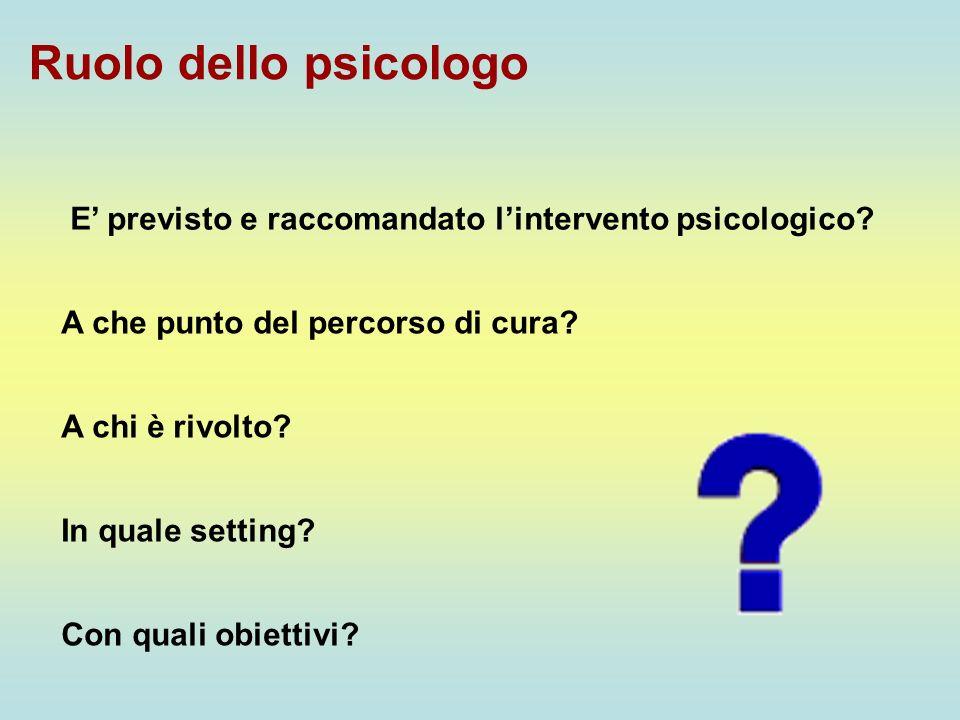 Ruolo dello psicologo E' previsto e raccomandato l'intervento psicologico A che punto del percorso di cura