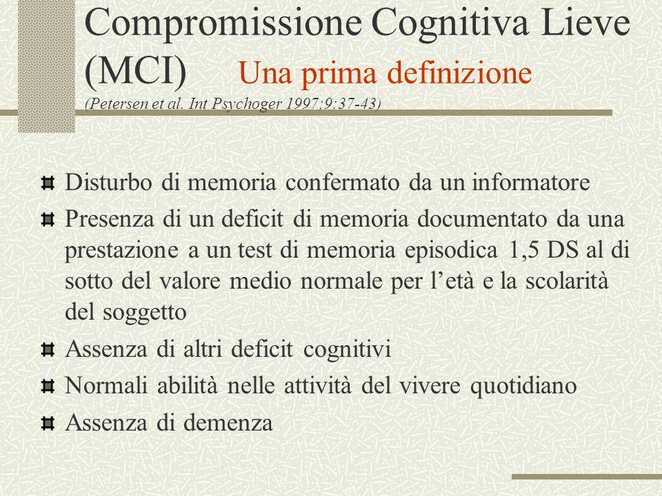 Compromissione Cognitiva Lieve (MCI) Una prima definizione (Petersen et al. Int Psychoger 1997;9:37-43)
