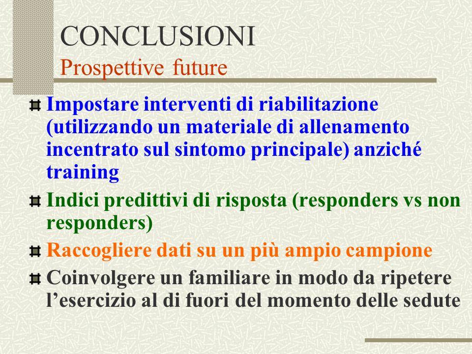 CONCLUSIONI Prospettive future