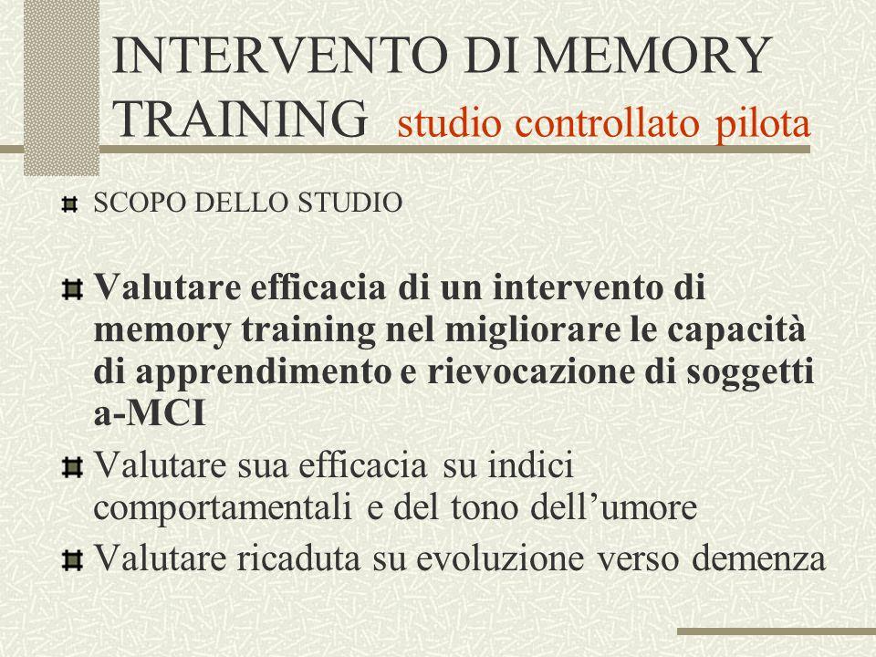 INTERVENTO DI MEMORY TRAINING studio controllato pilota