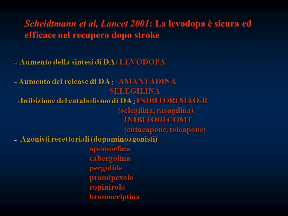 - Aumento della sintesi di DA: LEVODOPA