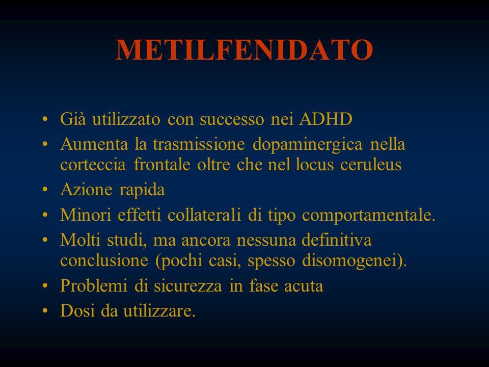 METILFENIDATO Già utilizzato con successo nei ADHD