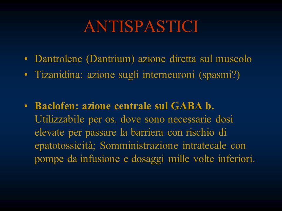 ANTISPASTICI Dantrolene (Dantrium) azione diretta sul muscolo