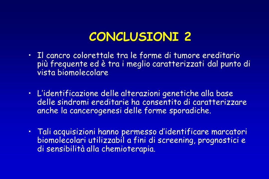 CONCLUSIONI 2Il cancro colorettale tra le forme di tumore ereditario più frequente ed è tra i meglio caratterizzati dal punto di vista biomolecolare.