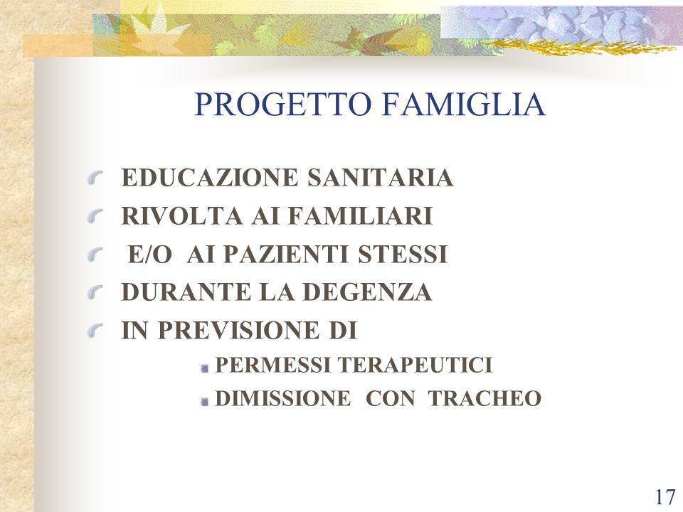PROGETTO FAMIGLIA EDUCAZIONE SANITARIA RIVOLTA AI FAMILIARI