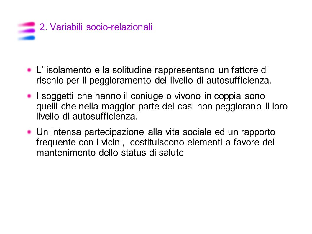 2. Variabili socio-relazionali