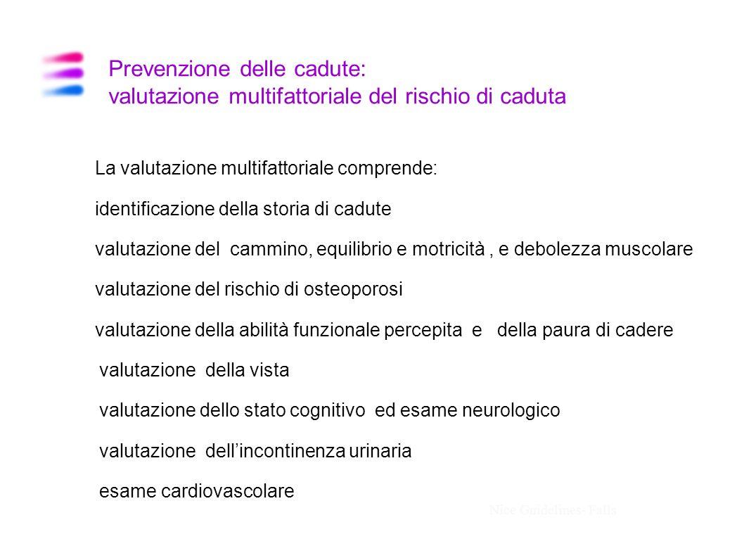 Prevenzione delle cadute: valutazione multifattoriale del rischio di caduta