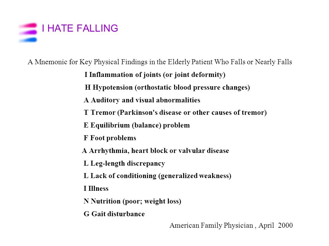 I HATE FALLING A Mnemonic for Key Physical Findings in the Elderly Patient Who Falls or Nearly Falls.