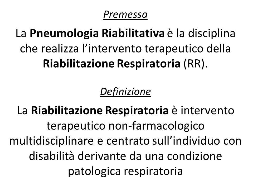 Premessa La Pneumologia Riabilitativa è la disciplina che realizza l'intervento terapeutico della Riabilitazione Respiratoria (RR).
