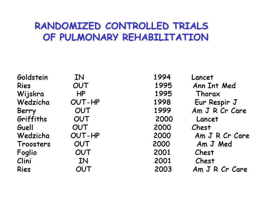 RANDOMIZED CONTROLLED TRIALS OF PULMONARY REHABILITATION