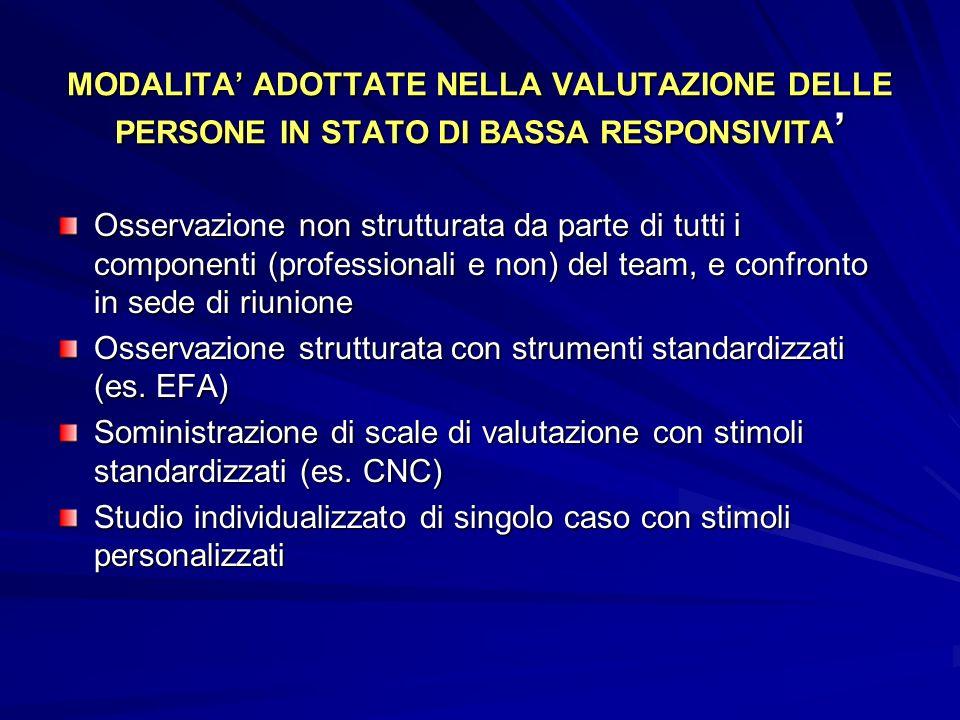 MODALITA' ADOTTATE NELLA VALUTAZIONE DELLE PERSONE IN STATO DI BASSA RESPONSIVITA'