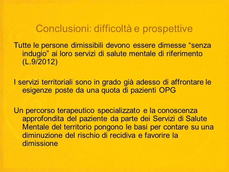 Conclusioni: difficoltà e prospettive